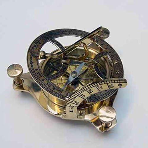 Benzara NAU-BR48342 Brass Sun Dial Compass In Box – Great Nautical Compass