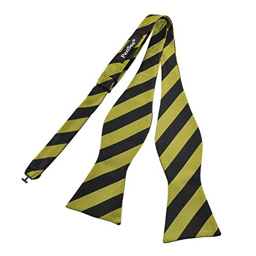 Diagonal Stripe Woven Tie - PenSee Mens Self Bow Tie Black & Green Stripe Jacquard Woven Silk Bow Ties