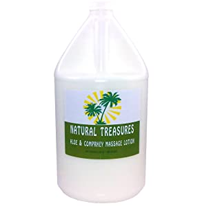 Natural Treasures ULTRAGLIDE Massage Lotion with added Aloe & Comfrey - Coconut. Oil Base 128 Ounces - One Gallon