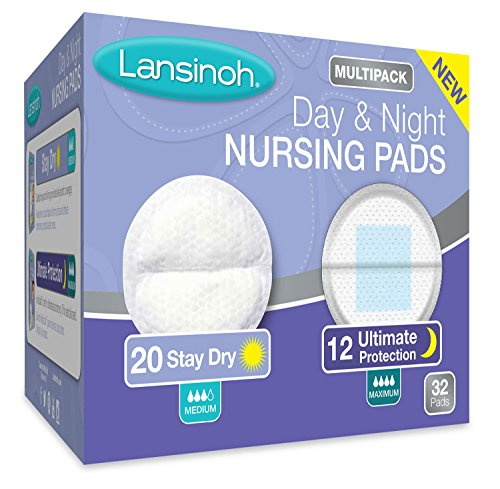 (Lansinoh Nursing Pads Day & Night Multipack, Pack of 32 (20 Stay Dry Pads & 12 Ultimate Protection) Disposable Breast Pads)