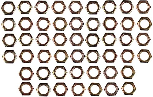 Creative Hobbies ELY233 - Steel Hex Lock Nut Fasteners - Yellow Zinc Coated, Fits 1/8IP Standard Lamp Pipe, Hardware DIY Repair Part - Pack of 50 (Lamp Nut)