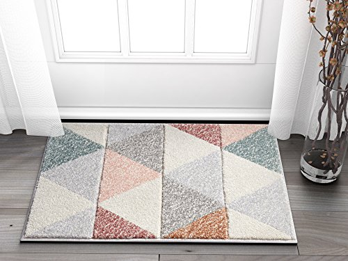 Suave Angles Dusty Pink Red Copper Blue Grey Modern Geometric Hand Carved 2' x 3' Area Rug Easy to Clean Stain & Fade Resistant Thick Soft Plush