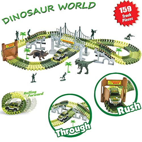 ADiPROD Dinosaur World Race Track, 159 Piece Toy Car, Bendable Track Playset with 6 Soldiers, 2 Dinosaurs