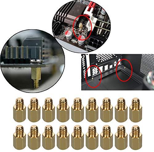 HanTof 6-32 Brass Motherboard Standoffs,ATX Case Standoffs, ATX Standoff for ATX Computer Case - 20 Pack