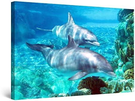 Startonight Wall Art Canvas Dolphin
