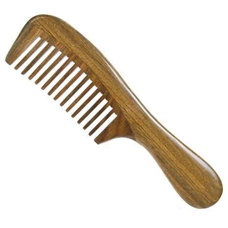 Peine de sándalo verde natural, dientes anchos medianos, peine de madera, diseño de