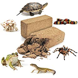 2 Coconut Substrate Bricks - (23 oz Each) – 100% Natural Beddings for Terrariums – Ideal for Amphibians and Reptiles – Non-Toxic, Odorless, Safe – Can Be Used Wet or Dry – Aids in Reproduction