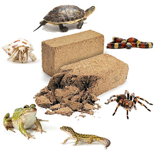 2 Coconut Substrate Bricks - (23 oz Each) - 100% Natural Beddings for Terrariums - Ideal for Amphibians and Reptiles - Non-Toxic, Odorless, Safe - Can Be Used Wet or Dry - Aids in Reproduction