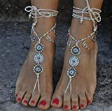 Barefoot Sandals - Silver Fairy Mandala - Ivory and Neon - Hippie Beach Wedding - Yoga Jewelry