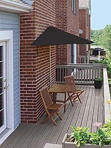 5-pc compañeros de terraza, Premium, cuadriculado, al aire libre muebles de jardín 9'–negro Sunbrella