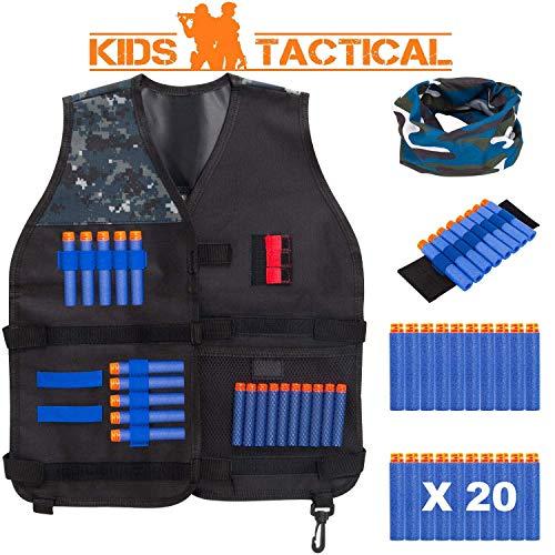 TEPSMIGO Kids Tactical Jacket Vest Kit with 20 Pcs Refill Darts, 1 Face Tube Masks, 1 Hand Wrist Bands, Great Gift for Boy 5+