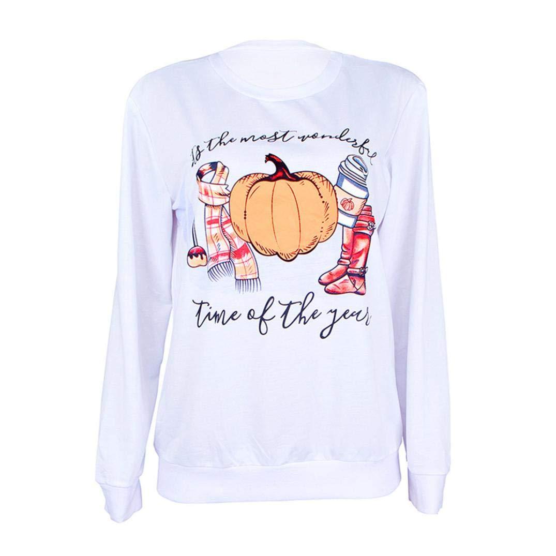 Halloween Damen Pullover Bluse Langarmshirt Oberteile Top Bluse Kürbis EU36/M)