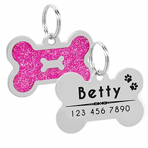 Glitter Pink Bone (PET ARTIST Personalized Dog Tags Bling Glitter Bone ID Tag Pets Medium Large Breed Dog)