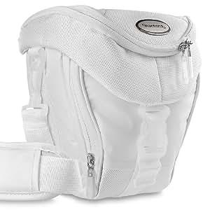 Mantona Premium - Funda para cámara reflex (correa para hombro, cierre de cremallera y clip), color blanco