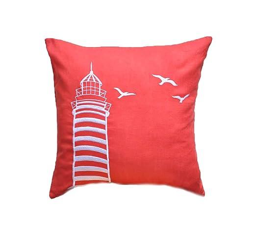 Decorative funda de almohada con cremallera naranja lino y ...