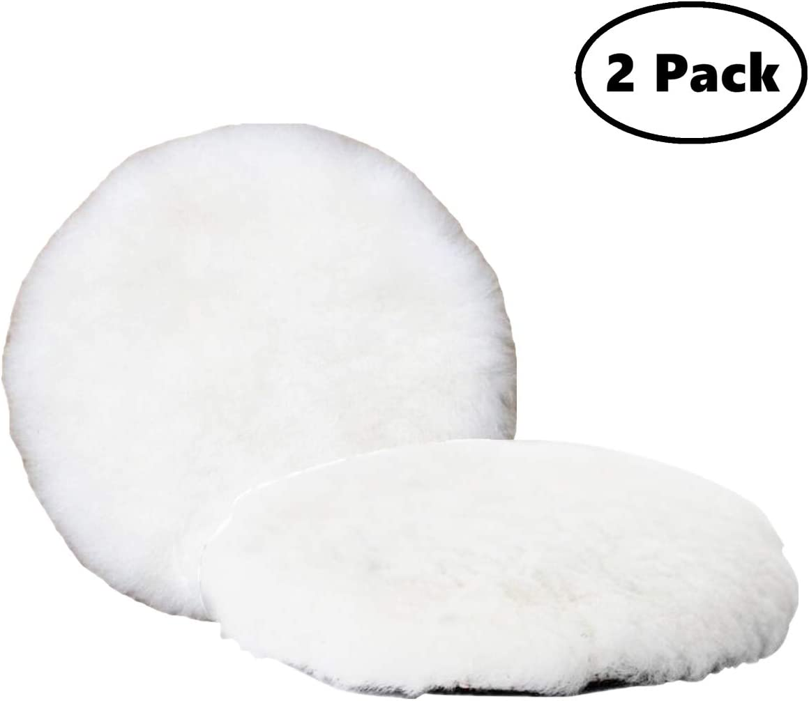 Inzoey Wool Polishing Pad 5 Inches Soft Sheepskin Buffing Pads with Hook and Loop Back Wool Cutting Pad for Car, Furniture, Glass and So On (Pack of 2)