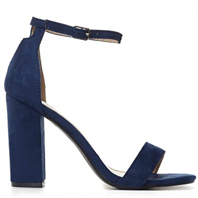 da4e857fb7 Shoe Closet Navy Blue Faux Suede Ankle Strap Block Heel Strappy Sandals  Peep Toes High Heels