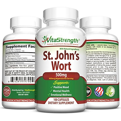 St. John's Wort - 500mg x 100 Capsules - Saint Johns Wort Extract for Mood Support - Promotes Mental Health & Eases Symptoms of Anxiety & Depression