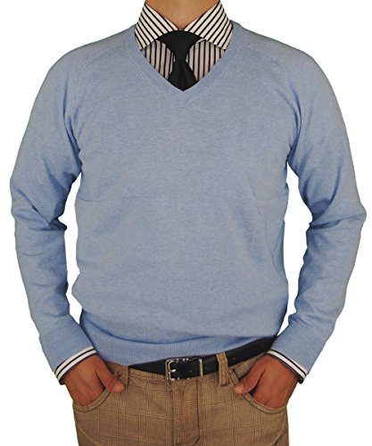 - Classic Fit V-Neck Premium Cotton Sweater with a Cashmere Touch (Small, Light Blue)