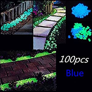 Glow in the Dark Pebbles, Garden Decorative Stones for Walkways Flower Beds and Fish Tank(100, Blue)
