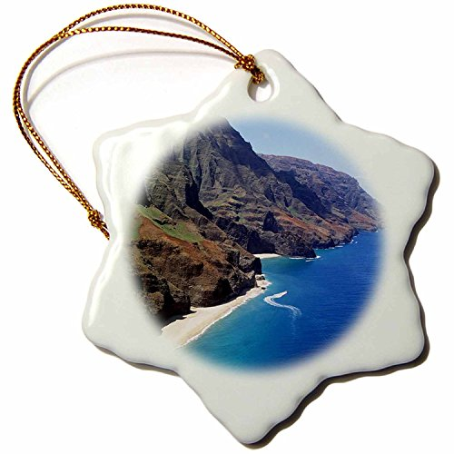 3dRose orn_89624_1 Napali Coast Kauai Hawaii Douglas Peebles Snowflake Decorative Hanging Ornament, Porcelain, 3-Inch