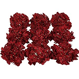 Luyue Silk Hydrangea Heads Artificial Decoration Flowers Garden Floral Decor,Pack of 10 (Wine Red) 36