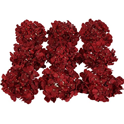 (Luyue Silk Hydrangea Heads Artificial Decoration Flowers Garden Floral Decor,Pack of 10 (Wine Red))