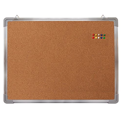 "Bulletin Board Set - Cork Board 24 x 18"" + 10 Color Pins - Small Wall Hanging Tack Message Memo Picture Board for Home Office School Cubicle - Presentation, Display and Planning (Cork 24x18"")"