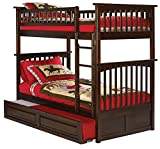 Columbia Bunk Bed with Trundle Bed, Twin Over Twin, Antique Walnut