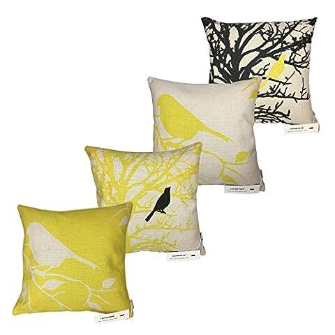 LAZAMYASA Square Cartoon Bird Printed Cushion Cover Cotton Throw Pillow Case Sham Slipover Pillowslip Pillowcase For Home Sofa Couch Chair Back (Yellow Room Chairs)