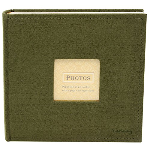 Farway Photo Album Scrapbook 4 x 6 inch 200 Pockets Faux Suede Cover with Window Frame (Green)