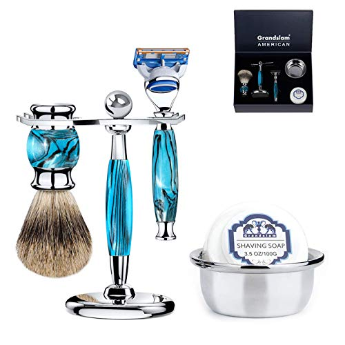 - Luxury Shaving Gift Set Safety Razor Shaving Brush Stand for Men Grooming Set for Father's Day/Business Gift/Boyfriend/Husband Grandslam, Silver