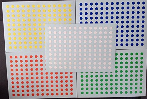 (2400 PCS Circle Round Color Coding Dot Labels, Multicolored (Red, Blue, Yellow, Green, White), 0.25