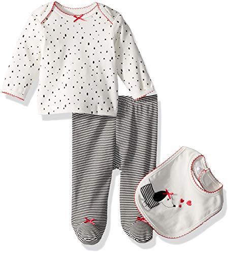 Embroidery Dalmatian (Little Me Baby Girls Lap Shoulder Set with Bib, Dalmatian Marshmallow/Jet Black, 6 Months)