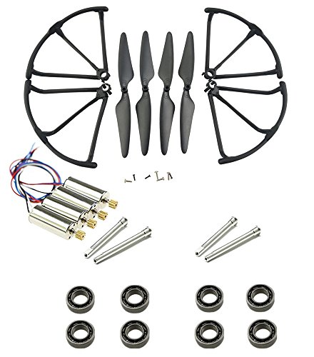 Upgrade Motors Main Blade Propellers Propellers Guards Bumpers Shafts Bearings for Hubsan H502E H502S Drone Replacement CCW CW with Metal Gear RC Quad Copter Spare Parts Set (Black) (Blade 4 Propeller Brass)