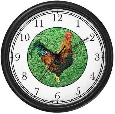 Rooster JP6 Wall Clock by WatchBuddy Timepieces White Frame