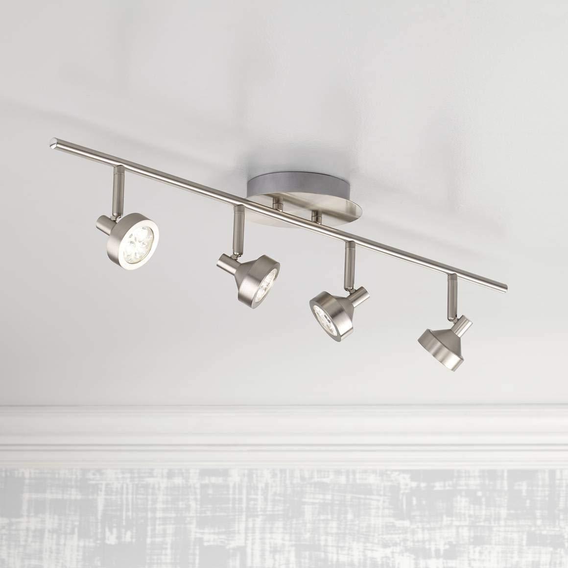 Pro track tilden 4 light brushed nickel led ceiling light pro track