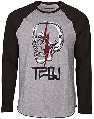 Men's TRBJ Skull Raglan Long Sleeve Tee T-Shirt in Heather Grey/Black