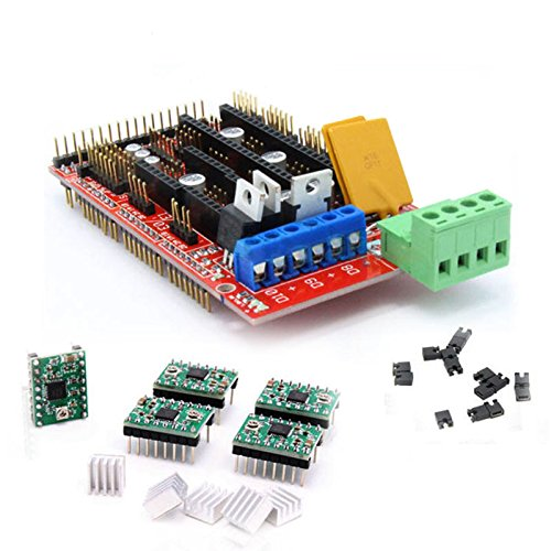 Wangdd22 3D Printer kit RAMPS 1.4 Control Panel Printer Control Reprap MendelPrusa +5 pcs A4988 StepStick Stepper Motor Driver Module with Heatsink for 3D (1.4 Heater)