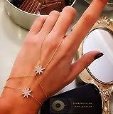 Double Star Adjustable Slave Bracelet Hand Chain 925 Sterling Silver