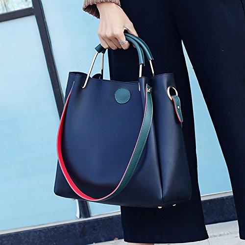 BYD mujeres alta capacidad bolsa de hombro Bolso de monedero de mensajero de leather bolso de hombro de moda de vendimia mujeres Bolso de anillo de metal 2 set negro
