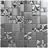 Stainless Steel Metal French Pattern Mosaic Tile For Kitchen Backsplash Wall (Box of 5 Sheets $127)