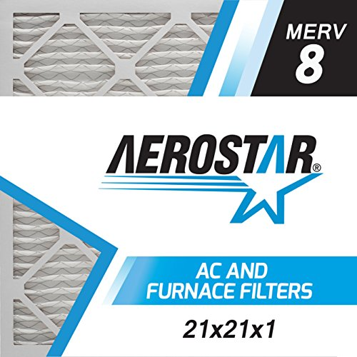Aerostar 21x21x1 MERV 8, Pleated Air Filter, 21x21x1, Box of 6, Made in The USA (Furnace Filters 21 X 21)