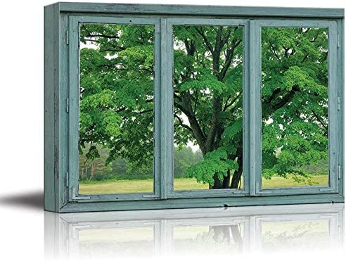 3 Frame Window Looking at a Green Tree in a Field