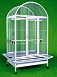Large Wrought Iron Bird Cage Parrot Cages Macaw Dometop 36″x26″x65″ *Egg Shell White*, My Pet Supplies
