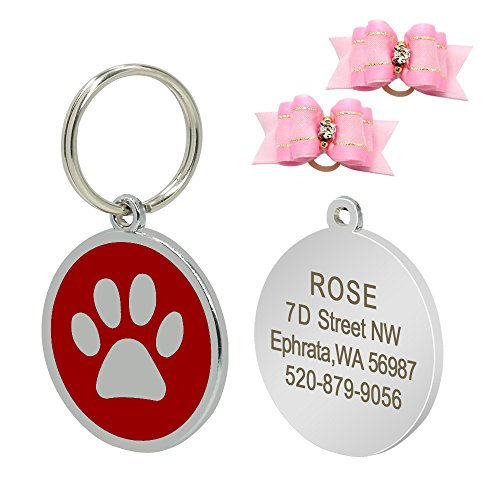 Didog Paw Print Custom Pet ID Tags for Dogs and Cats,Persona