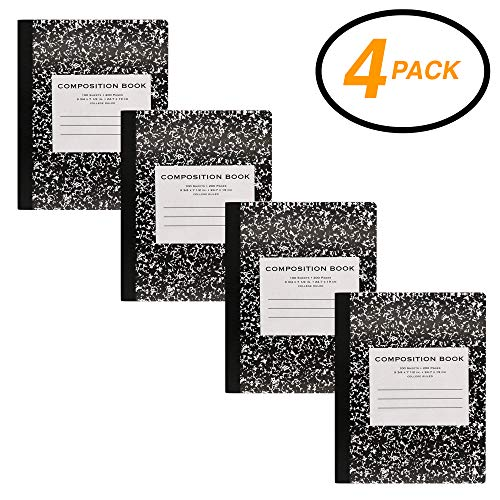 Emraw Black Marble Composition Book College Ruled Paper Office Dairy Note Books 100 sheet Meeting Notebook Journals Hard cover Pack Of 4 Writing Book For school