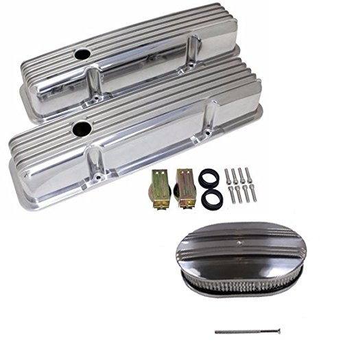 SBC Small Block Chevy Finned Tall Polished Aluminum Valve Covers W/ Holes 283 before 1986 & 12
