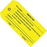 Aviditi G20061 Inspection Tag, Legend''INSPECTED'', 13 Point Cardstock, 4-3/4'' Height x 2-3/8'' Width, Black on Yellow (Case of 1000)