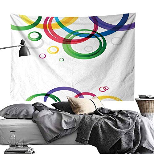 MaureenAustin Polyester Tapestry DecorativeAbstract,Lively Rings on White Background in Abstract Manner Festive Colors Pattern,White Emerald Wall Hanging for Bedroom Living Room Dorm60 x60
